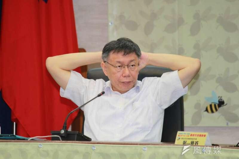20180712-台北市長柯文哲12日出席嗡嗡嗡台北市2018年暑期市政體驗營第二梯次結業及模擬市政會議。(方炳超攝)