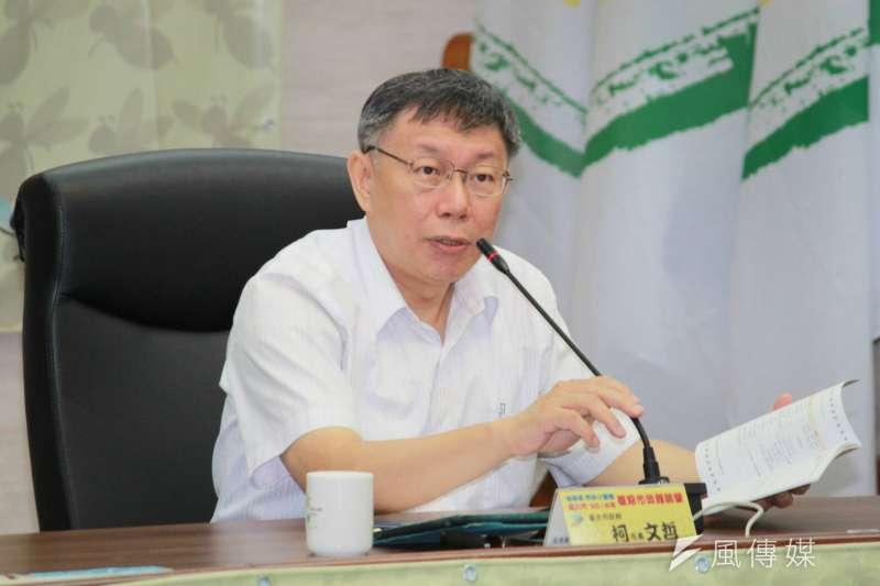 台北市長柯文哲12日出席嗡嗡嗡台北市2018年暑期市政體驗營第二梯次結業及模擬市政會議。(方炳超攝)