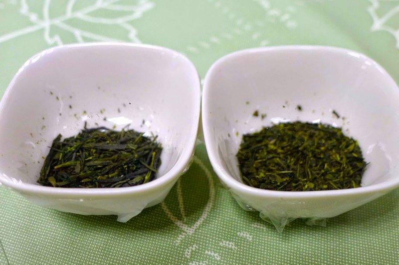 左為玉露,右為煎茶