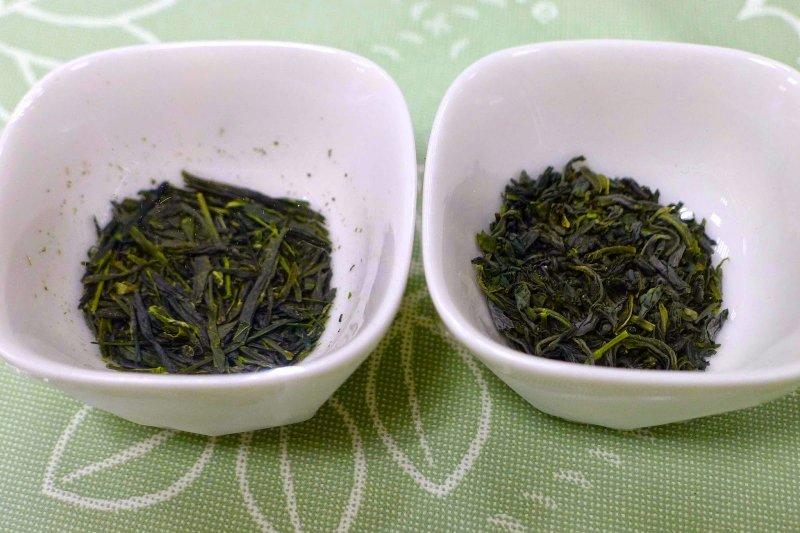 左為煎茶,右為玉綠茶