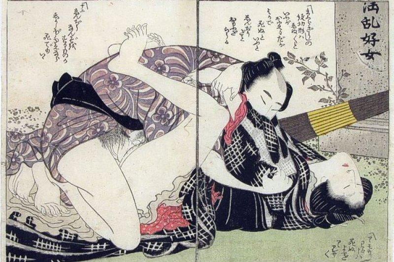 江戶時代浮世繪的春畫。photo credit:wikipedia