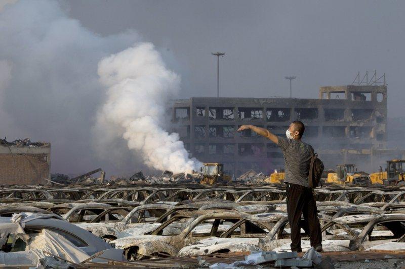 天津爆炸。(美聯社)