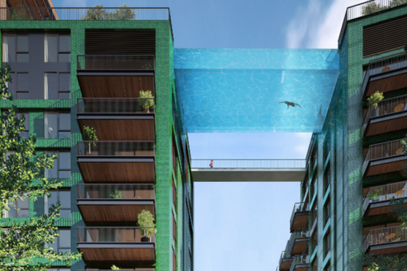 英國倫敦將出現底部透明的高空游泳池。(取自推特)