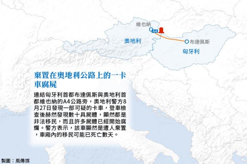 歐洲難民事件。奧地利公路卡車腐屍。