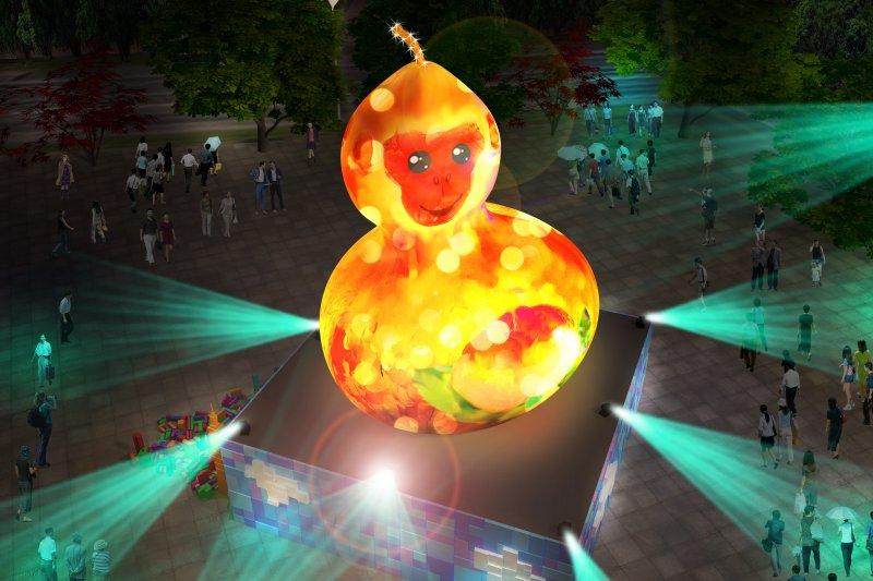 台北燈會即將於春節後盛大登場,今年的主燈為「福祿猴」,但造型卻十分令人崩潰,還有網友吐槽說「沒看過這麼醜的主燈」、「這是沒年終的設計師搞嗎?」。(取自台北市政府)