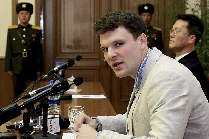 遭北韓當局判處15年勞改的美國大學生瓦姆比爾。(美聯社)
