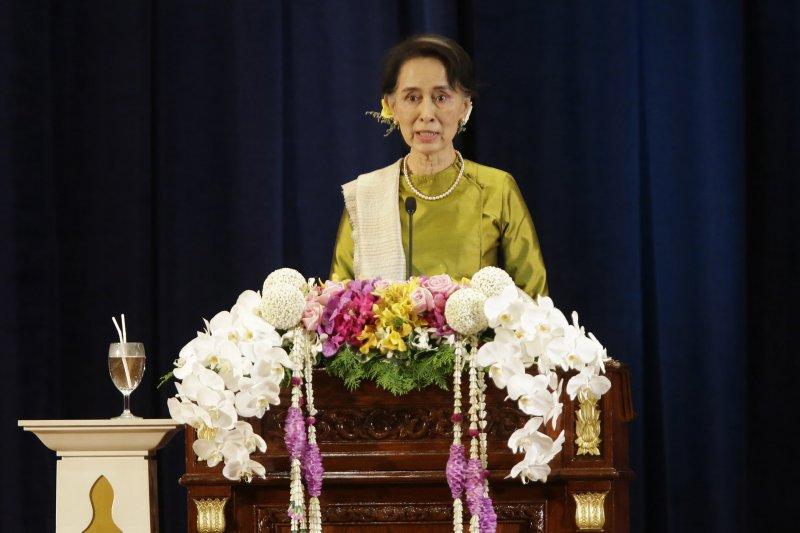 1991年諾貝爾和平獎得主、緬甸領導人翁山蘇姬(美聯社)