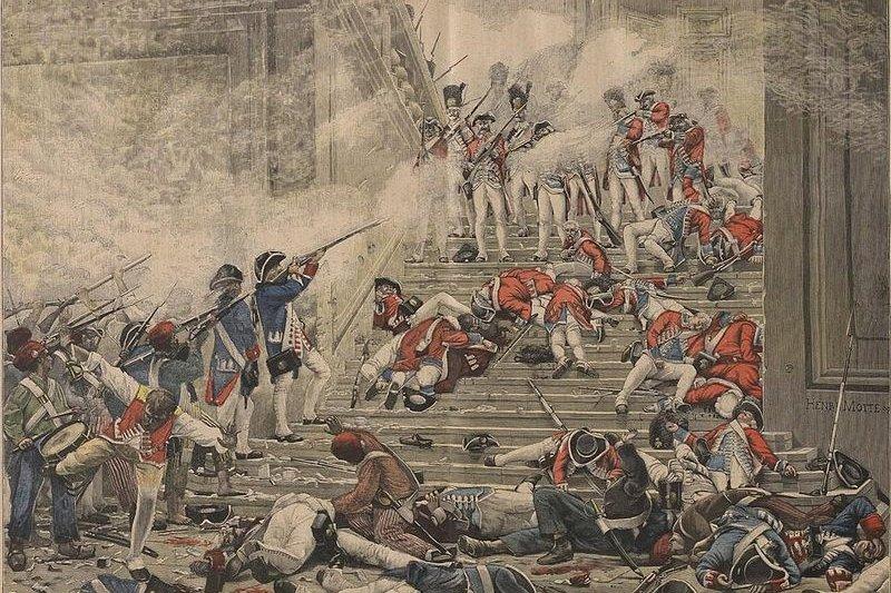 杜樂麗宮裡,攻入的民眾與國王的瑞士衛隊廝殺(取自Wikipedia)