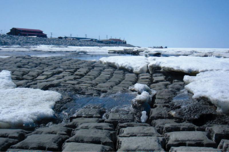 全球暖化使得冰川消失,美國阿拉斯加海岸線被海水嚴重侵蝕。(圖取自美國政府責任署)