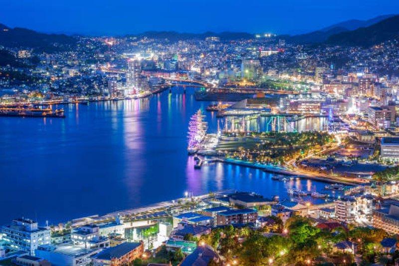 從稻佐山欣賞的長崎夜景。