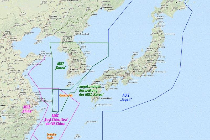 日本、南韓與中國的航空識別區。(Maximilian Dörrbecker@Wikipedia / CC BY 2.0)