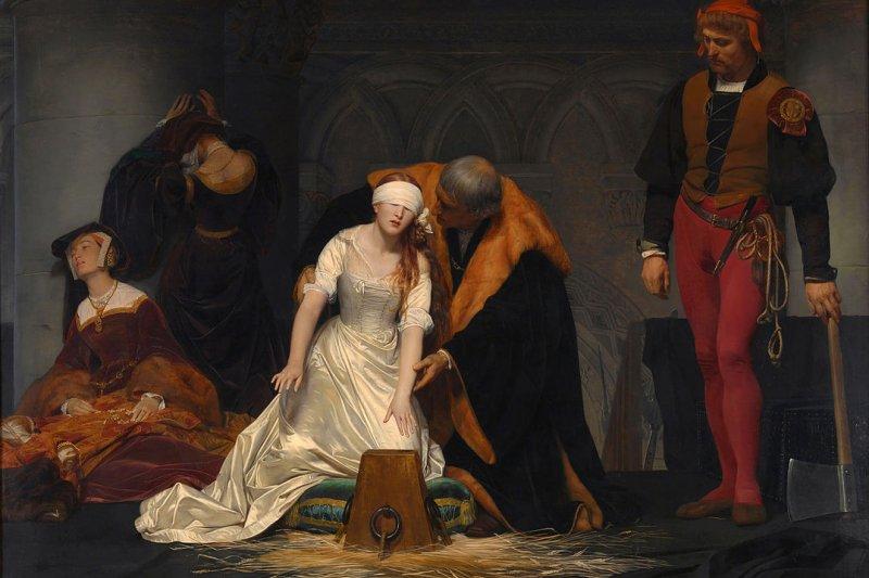 1833年,法國畫家保羅.德拉洛什( Paul Delaroche)所繪的《珍.葛雷的死刑》(The Execution of Lady Jane Grey)(取自Wikipedia/Public Domain)