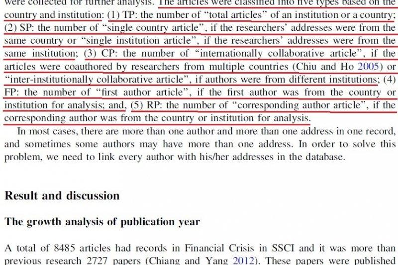 圖五:台灣中部國立大學教師的升等副教授代表著作(Hsu and Chiang, 2015, p.161)。(作者提供)