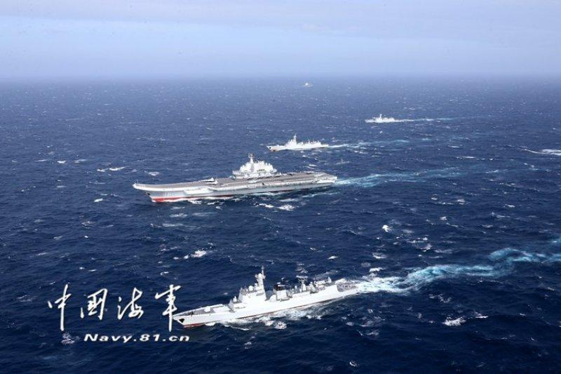 國防部預判「遼寧號」航母編隊將於12日清晨脫離台灣海峽北返歸建。(資料照,中國海軍網)