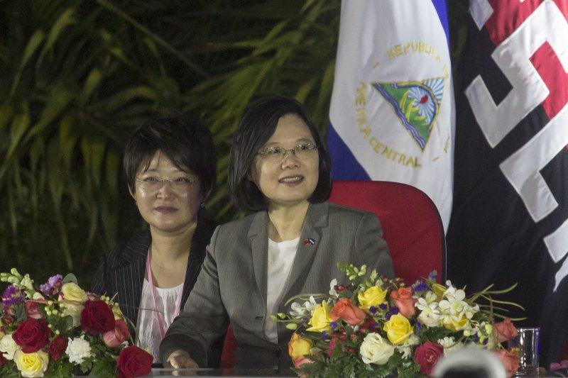 蔡英文10日出席尼加拉瓜總統就職時,尼國總統奧迪嘉以「姐妹」(Hermana)稱蔡英文,而在典禮上,蔡英文也與第一夫人穆麗優多有互動。(資料照,美聯社)