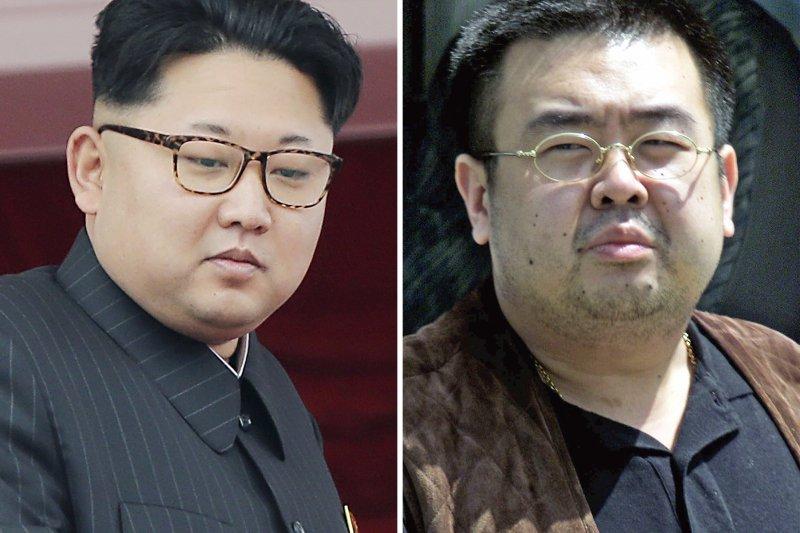 金正恩(左)的兄長金正男(右)在馬來西亞遭暗殺。(美聯社)