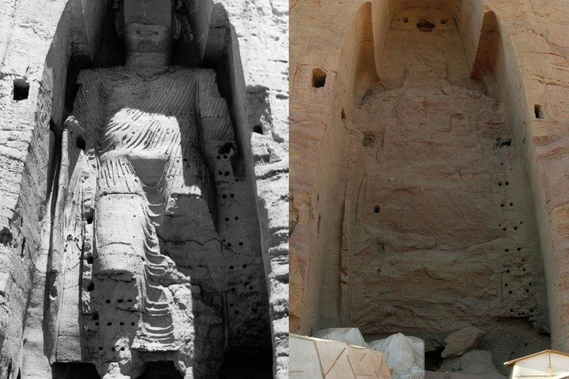 巴米揚大佛被毀前(左)與被毀後(UNESCO/A Lezine;Carl Montgomery@Wikipedia/CC BY-SA 3.0)