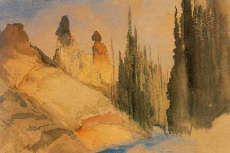 海登探勘期間,由畫家托馬斯·莫倫繪製的黃石托沃河。(wikipedia/public domain)