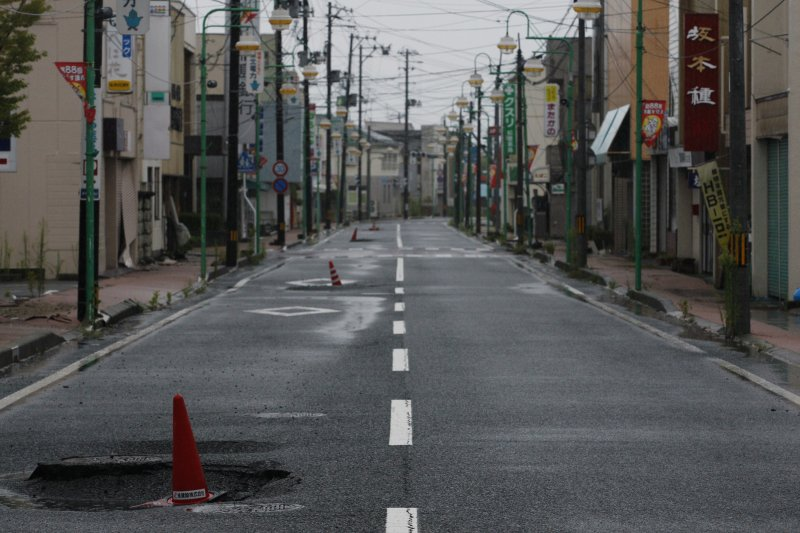 2011年8月19日,因為避難指示,福島縣富岡町的街頭空無一人。(美聯社)