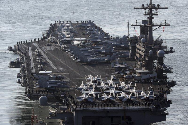 美軍卡爾文森號航空母艦在朝鮮半島海域參加美韓軍演。(美聯社)