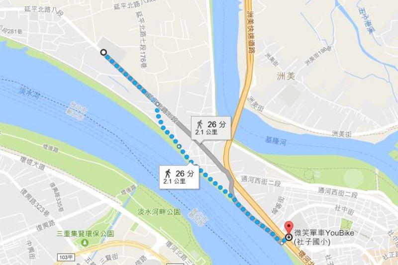2017-03-19-小超哥youbike專題-台北捷運距離最遙遠的,是在社子島上的福安國中站,距離社子國小也才2.1公里。(翻攝google map)