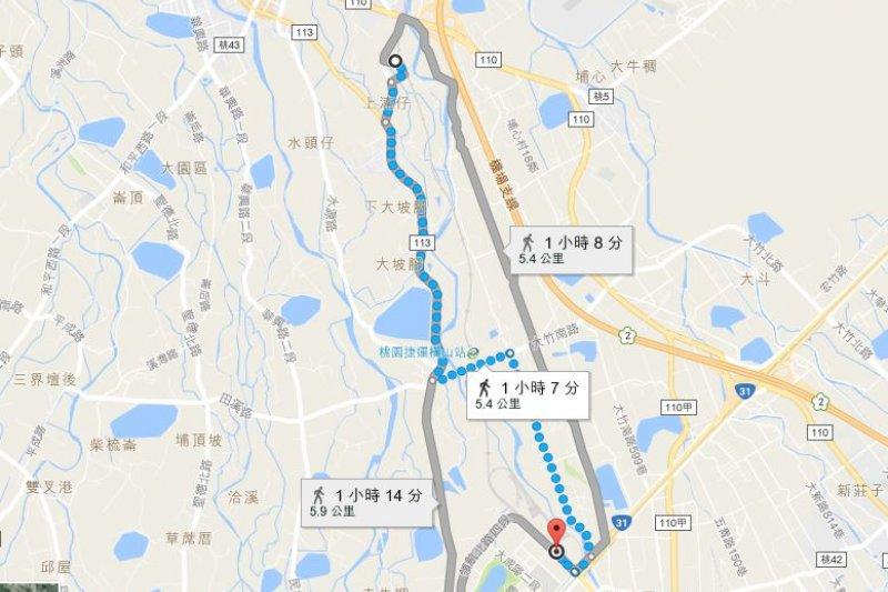 2017-03-19-小超哥youbike專題-A15站最近距離是A17站,距離也要5.4KM。(取自Google map)