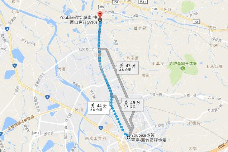 2017-03-19-小超哥youbike專題-A10站最近距離是蘆竹區婦幼館,距離也要3.6KM。(取自Google map)