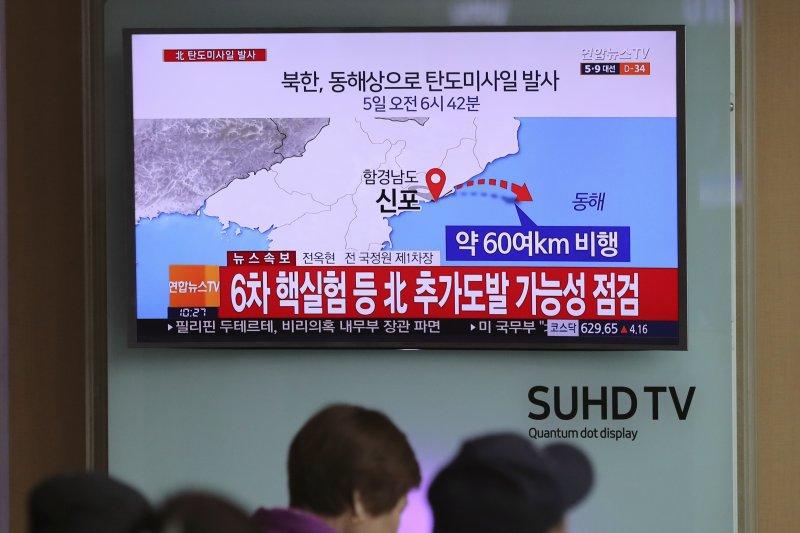 北韓5日上午再度試射飛彈。(美聯社)