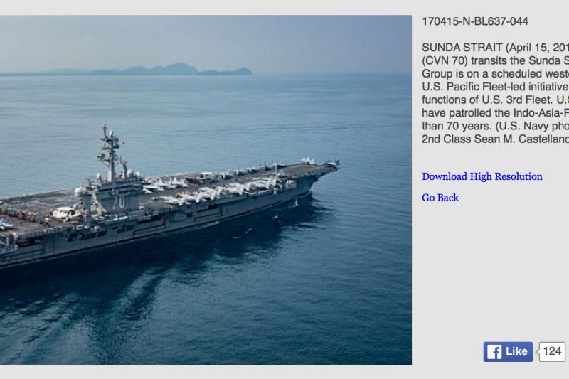 就是這張美國海軍照片,證實卡爾文森號航空母艦根本沒去朝鮮半島。(美國海軍官網)