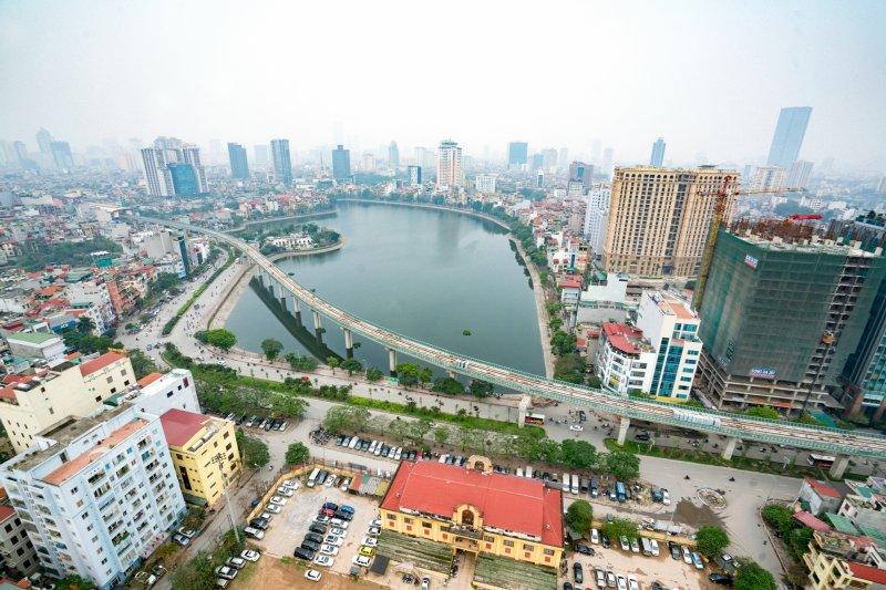 一帶一路,建設中的越南首都河內吉靈-河東線城鐵(新華社)