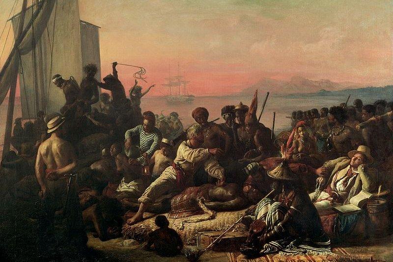法國畫家法蘭西斯比亞爾(François-Auguste Biard)所繪販賣市場黑奴的情況。(wikipedia/public domain)