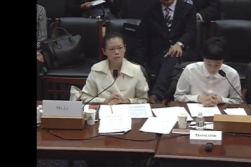 20170519-李明哲妻子李凈瑜(左)與施明德的女兒施笳(右)。施笳擔任翻譯(取自美國聯邦眾議院外交委員會網路轉播)