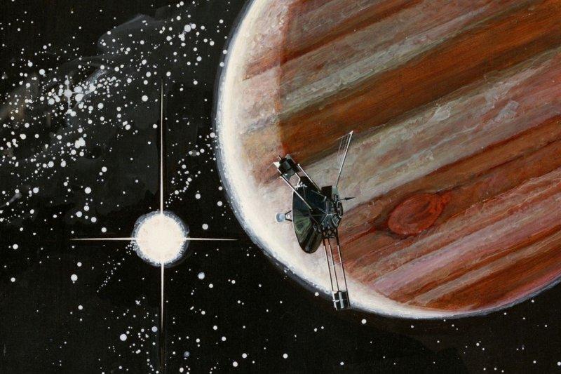 畫家所繪「先驅者10號」接近木星的畫面。(Rick Guidice@wikipedia/public domain)