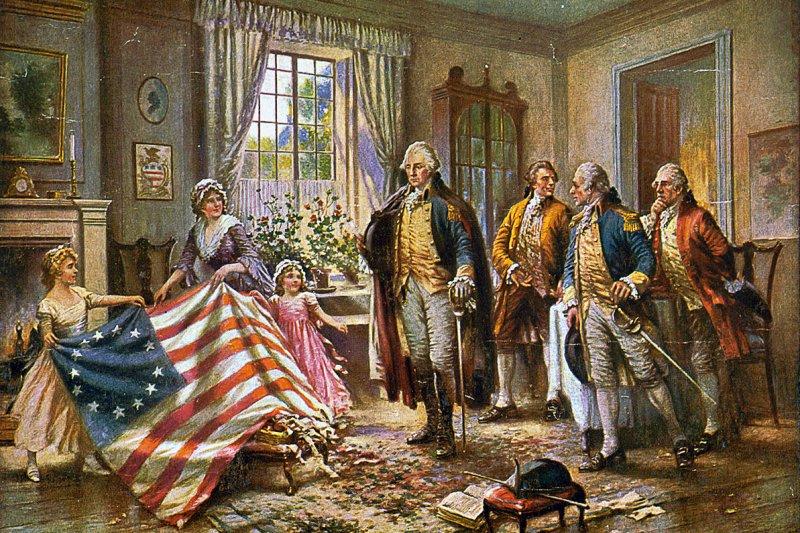貝特西.羅斯向喬治.華盛頓展示她縫製的國旗(Wikipedia/Public Domain)