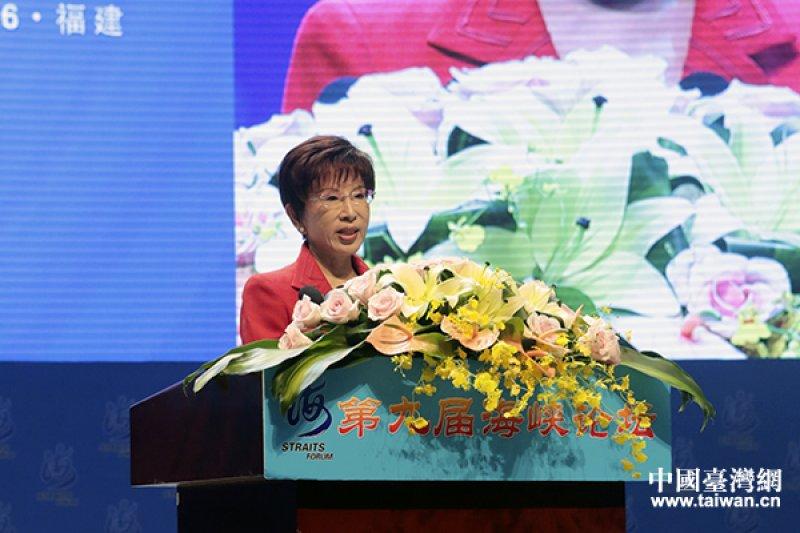 國民黨主席洪秀柱18日出席海峽論壇,她致詞時重提「和平政綱」以及反對「台獨」(中國台灣網)