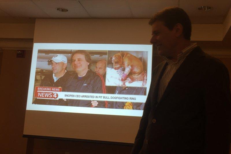 美國事實查核網站Snopes.com創辦人米克森也曾是假新聞受害者(簡恒宇攝)