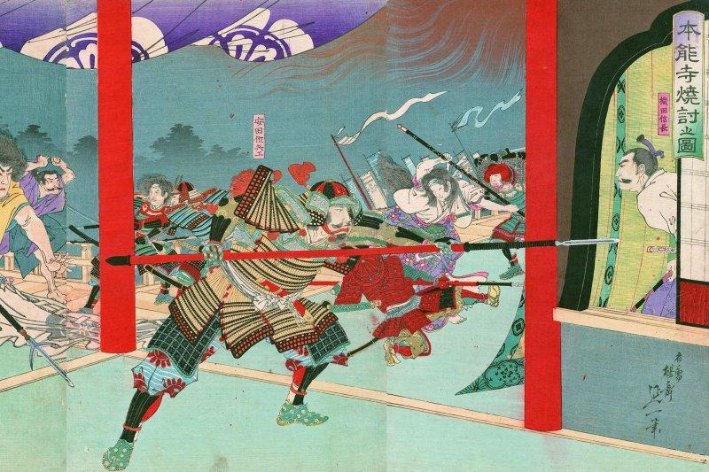 明治時期畫家楊齋延一的畫作《本能寺燒討之圖》。(維基百科)