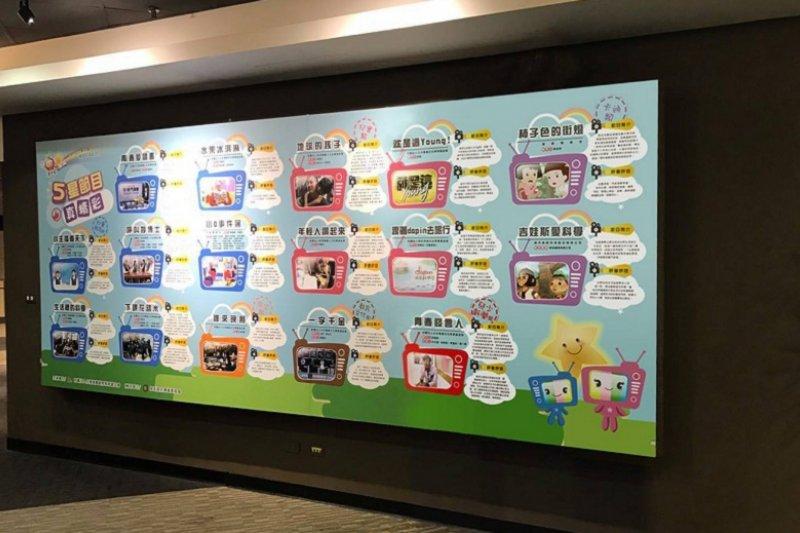 2016年「國人自製兒童暨青少年優質節目」五星獎得獎作品牆。(台灣媒觀提供)