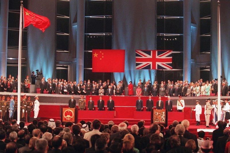 1997年,香港主權移交儀式。(AP)
