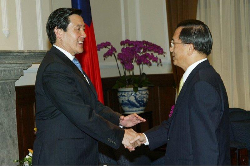 陳水扁總統與時任國民黨主席的馬英九會面。(資料照/總統府)