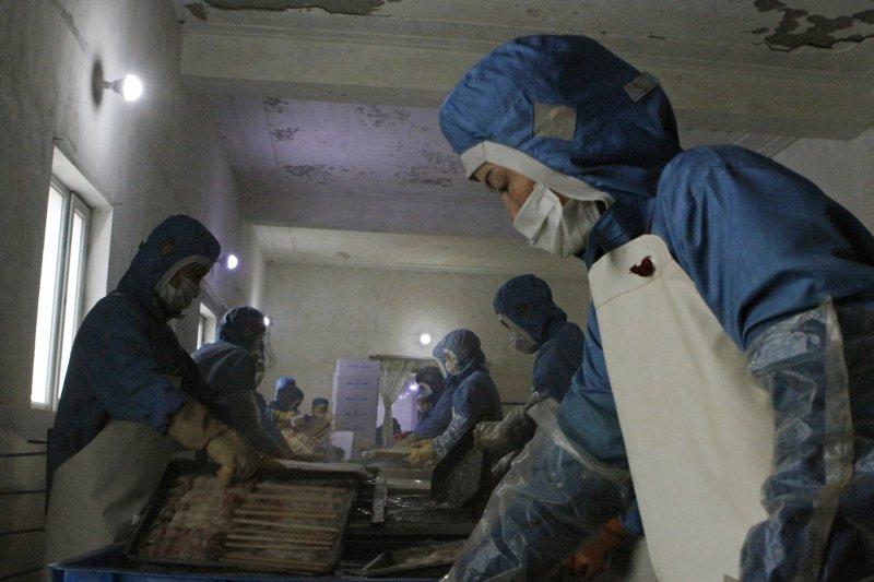 聯合國安理會5日一致通過嚴厲制裁北韓的新決議,這是韓的一家海產工廠(AP)