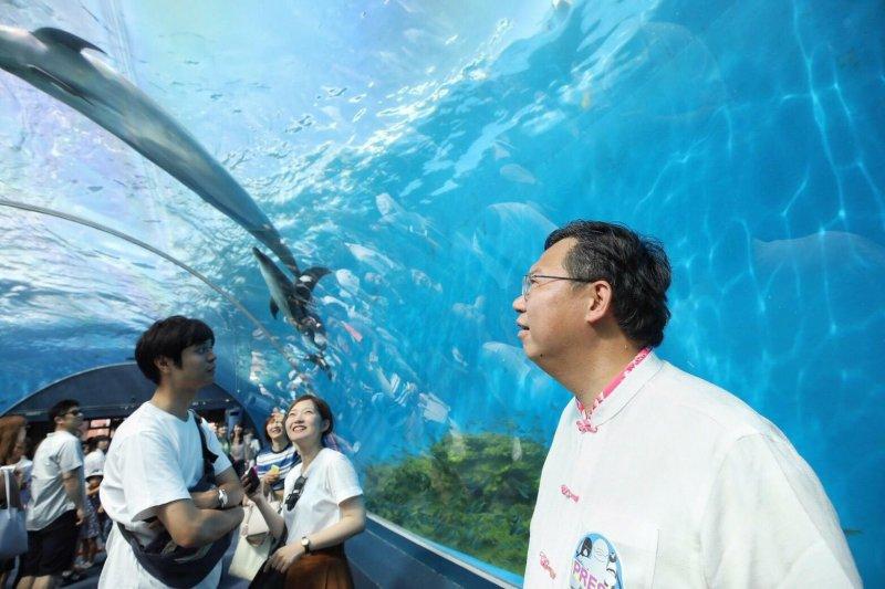 桃園市長鄭文燦出訪日本、參訪八景島海島公園。(取自鄭文燦臉書)