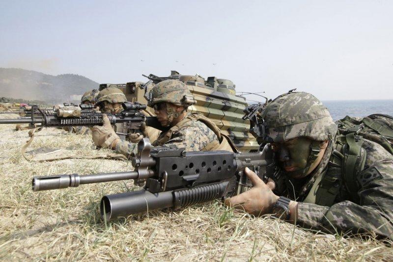 美韓年度聯合軍演「鷂鷹」。(美聯社資料照)