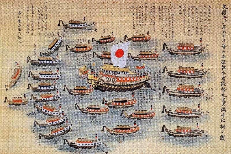 上圖為1592年日本征韓水軍,明朝在一開始並非想到支援朝鮮,而是擔心沿海受侵犯。(取自維基百科)