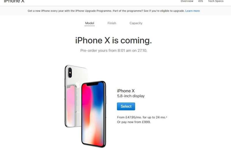 英國iPhone X為英鎊999元起,折合新台幣約為3萬9960。(取自蘋果官網)