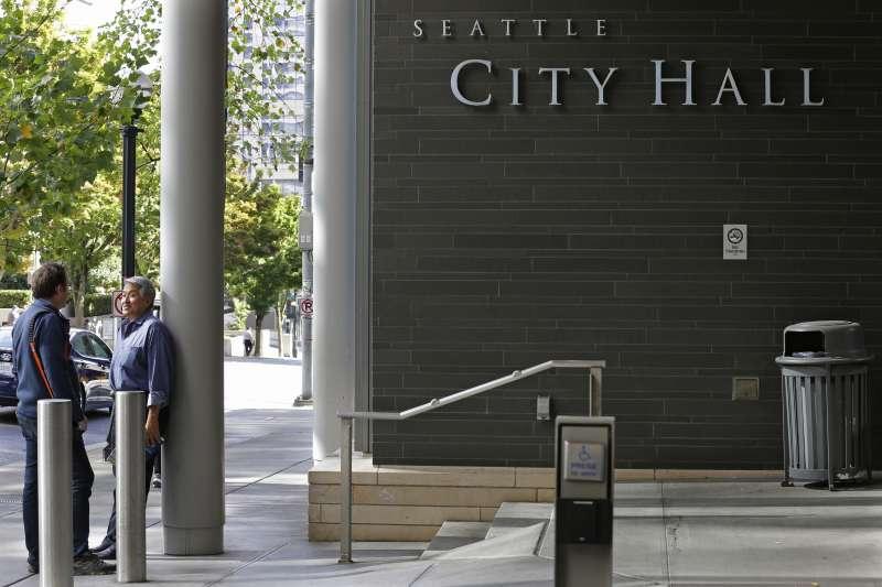 美國西雅圖市政府大樓入口(AP)
