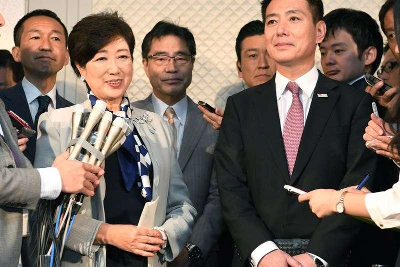 小池百合子與日本民進黨黨魁前原誠司。(美聯社)