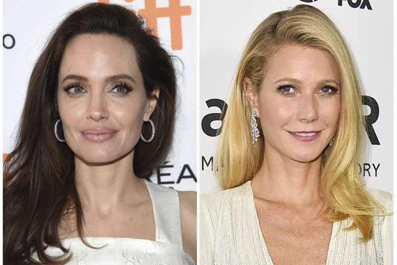 好萊塢知名女星安潔莉娜裘莉(左)、葛妮絲派特洛指控,曾遭名製作人溫斯坦性騷擾。(美聯社)