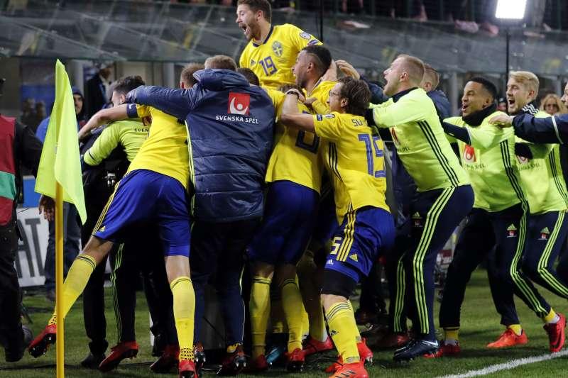 2018世足賽:瑞典踢贏義大利,取得參賽資格(AP)