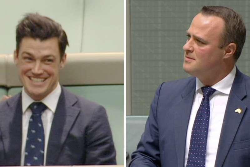 澳洲眾議員威爾森(右)就同婚法案發言時,向交往7年的同性伴侶柏格求婚(AP)